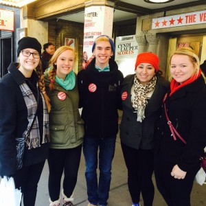"""Right before the show, proudly displaying our """"I won the Kinky Boots Lottery!"""" buttons."""