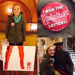 Our winning button; me before the show; and then Billy Porter and I at the stage door.